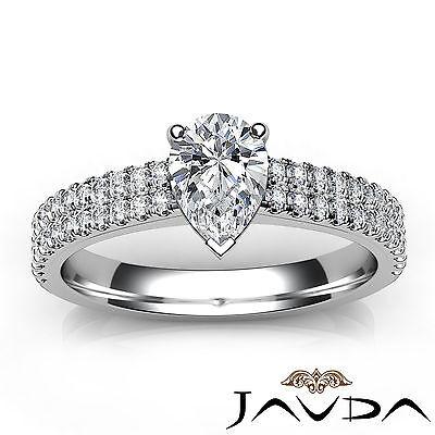 U Cut Prong 2 Row Shank Pear Diamond Engagement Anniversary Ring GIA H VS2 1Ct 3