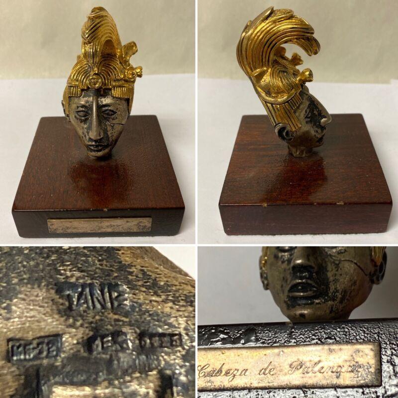 VTG STERLING SILVER CABEZA DE PALENQUE  AZTEC GOD HEAD SCULPTURE * MEXICO * TANE