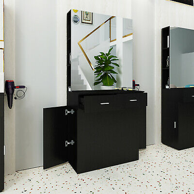 Barber Salon Station Wall Mount Beauty Spa w/Mirrors Dressing Table Hair Styling