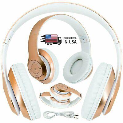 Wireless Headphones Foldable Headset Stereo Heavy Bass Earphones Work w/ BT