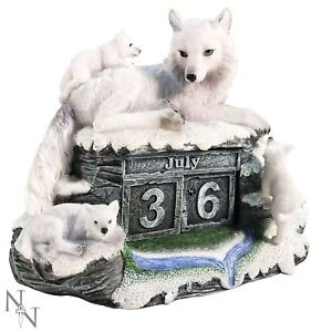 Nemesis Now - Mother's Watch Calendar 13cm White Wolf Puppies Ornament Gift