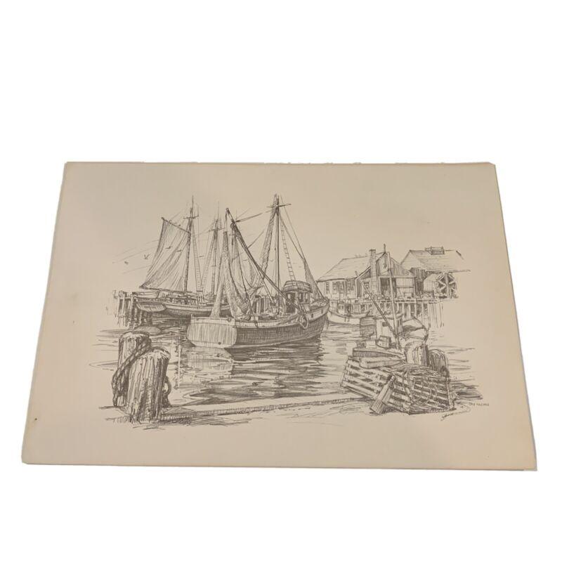 Vintage Ink Pencil Harbor J. Killian Boat Sailing Shipyard Nautical Marine Docks