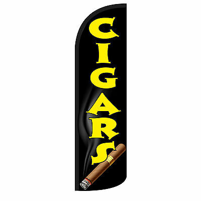 Windless Swooper Feather Flag Tall Banner Sign Only 3 Wide Cigars Blk Yel Cigar