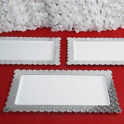 4 Pack - Clear w/ Silver Floral Edge 8.5