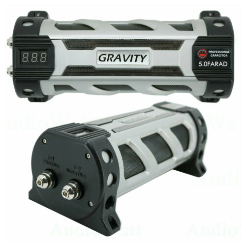 Gravity 5 Farad Capacitor  Audio  UP TO 6000 Watts Power 12V Car Digital Power