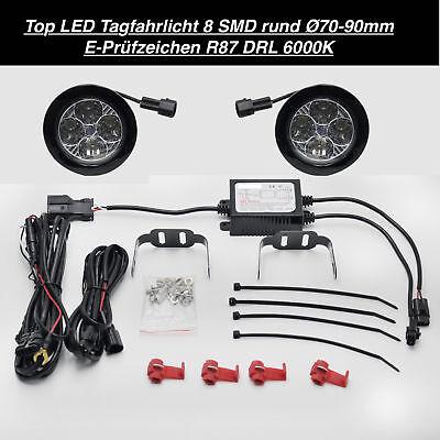 TOP Qualität LED Tagfahrlicht 8 SMD Rund Ø70-90mm E4-Prüfzeichen DRL 6000K (25