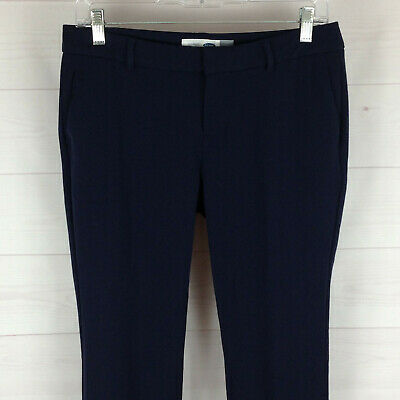 Old Navy womens size 4P stretch navy blue flat front mid rise straight pants