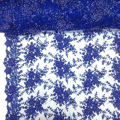 Floral Ivy Bridal Lace Sequins Beaded Scallop Fabric for Dresses 52'' BTY Colors
