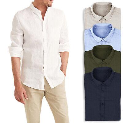Camicia Uomo Di Lino Casual Slim Fit Manica Lunga Bianca Celeste Blu Verde Veque