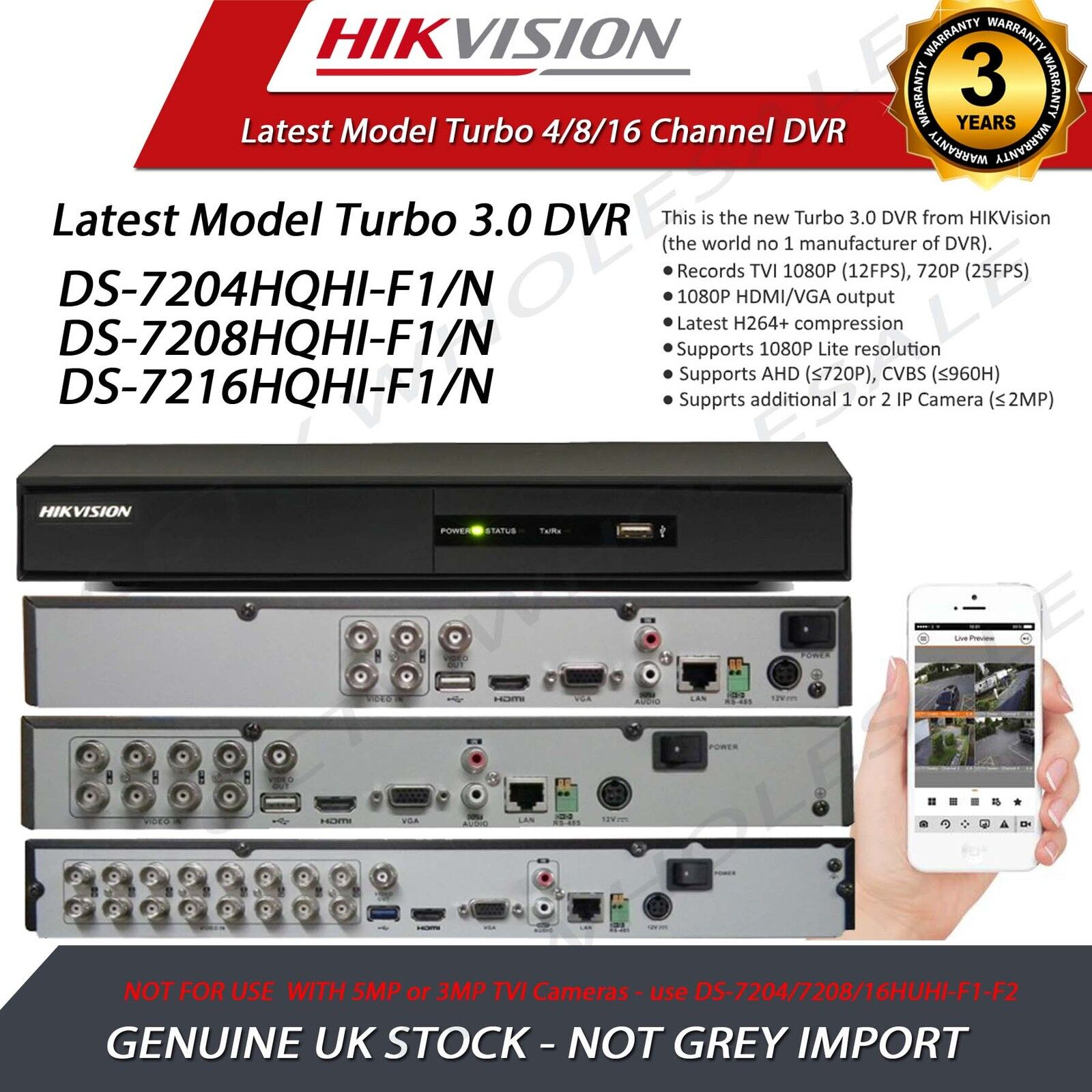 Details about Hikvision DVR 4/8/16 CH Camera Video Recorder HDMI P2P Turbo  HD 1080P TVI AHD
