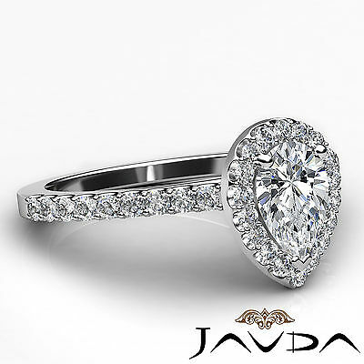 Halo Pear Cut Diamond Engagement French Set Pave Ring GIA Certified G VS2 1.23Ct 2