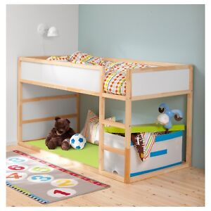 Ikea KURA reversible bunk bed with mattress and canopy