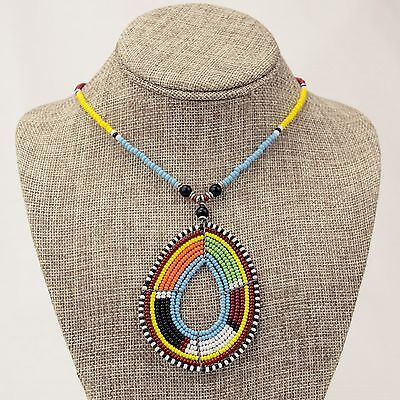 Africa Jewelry Maasai Multi Color Bead Tear Drop Pendant Necklace 438-46