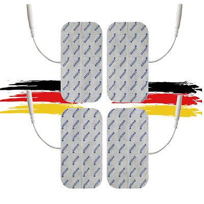 4 große TENS EMS Elektroden Pads 10x5cm mit 2mm-Stecker für Reizstromgeräte