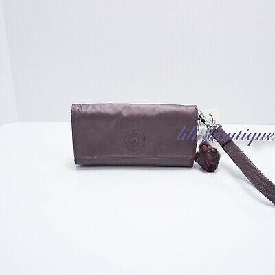NWT New Kipling AC8151 RUBI Snap Long Wallet Wristlet Popping Purple Metallic 48