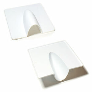 qty 2 white brick buster plate cable wall entry tidy cover satellite coaxial ebay. Black Bedroom Furniture Sets. Home Design Ideas