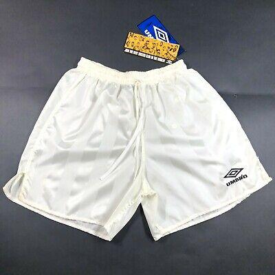 NWT Vintage 90s Umbro Nylon Striped Soccer Shorts White Yellow Men S Made in USA