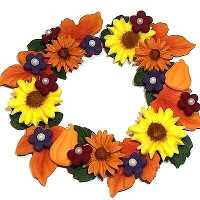 Edible Sugar Paste Autumn Flower Wreath Cake Decorations, Harvest, Halloween - Sugarpaste Halloween Decorations