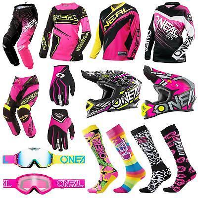 ONeal Damen Moto Cross MTB Shirt Mädchen Jersey Hose Helm Pink DH Fahrrad Enduro