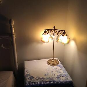 Art Deco style table lamp double glass shades brass stand EUC Maroubra Eastern Suburbs Preview
