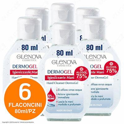 6x GEL Igiene Mani da 80ml Alcool 75% Flacone Tascabile Elimina Batteri e Odori
