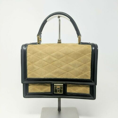 Vintage Goldpfeil Studio Leather Suede Handbag Top Handle Lock Quilted