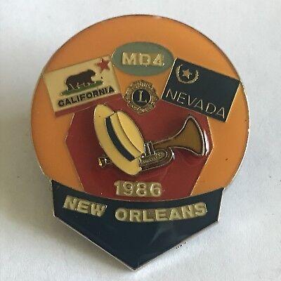 Older Lions Club International Pin MD 4 California Nevada- 1986 New Orleans