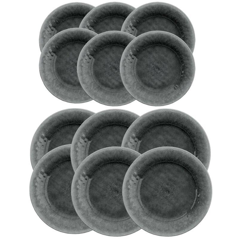 Potters Reactive Glaze - Grey - Melamine 12 Piece Dinner & Side Plate