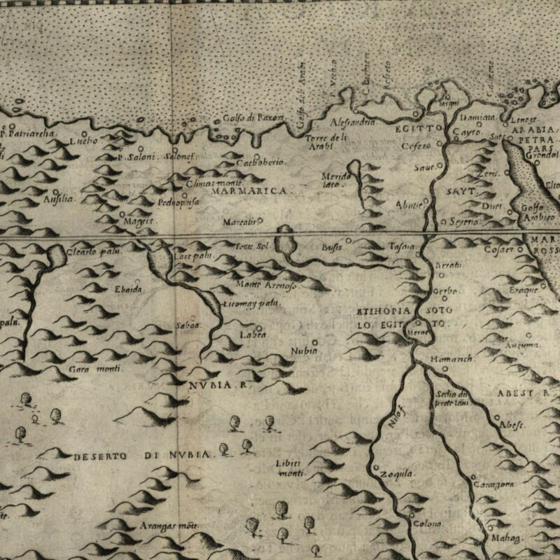 North Africa coast Barbary Marmarica Egypt Nile Libya 1599 Ruscelli map Rosaccio