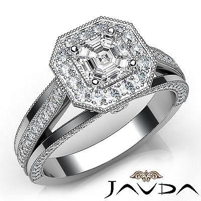 Asscher Diamond Engagement Milgrain Halo Ring GIA F VS1 18k White Gold 1.62Ct