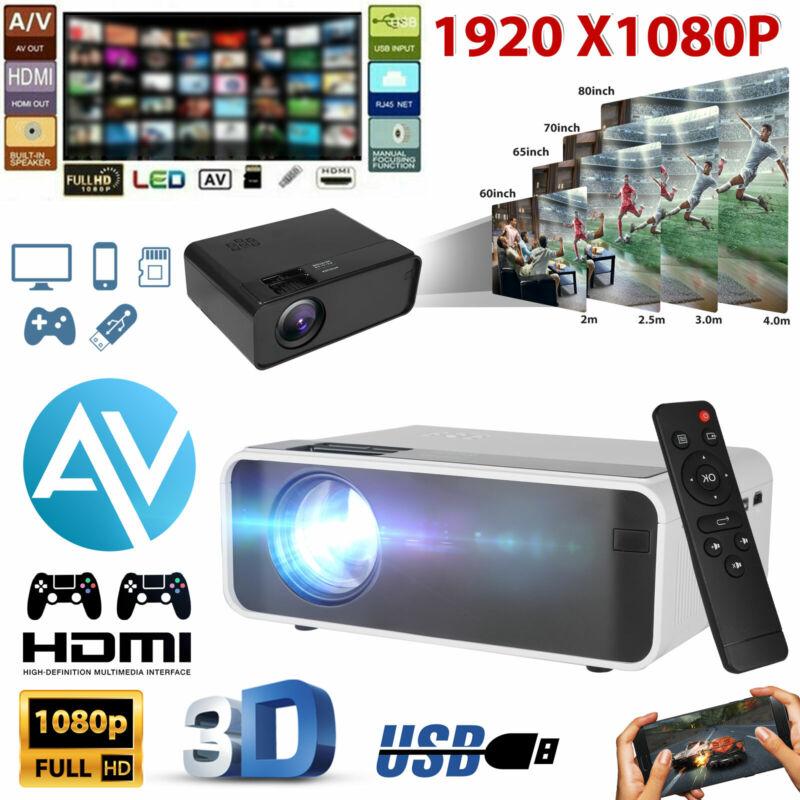 8000 Lumens LED Projector Video 2000:1 HD 1080P Home Theater HDMI USB VGA AV USB
