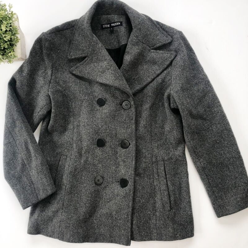 Steve Madden Gray Wool Blend Double Breasted Pea Coat Jacket Women's Size Large