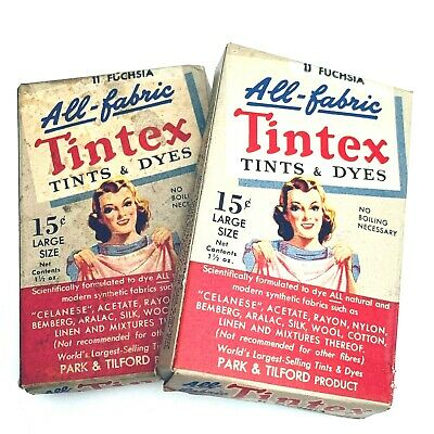 2 Vintage TINTEX All Fabric Tint and Dye FUCHSIA 1 1/2 ounce size Park Tilford