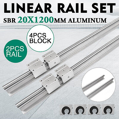 Sbr 20-1200mm 20mm Linear Slide Guide Shaft 2 Rail4sbr20uu Bearing Block Cnc