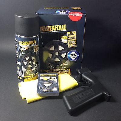 Sprühfolie Felgenfolie Set 4x 400ml schwarz matt + Sprühpistole Sprayboy