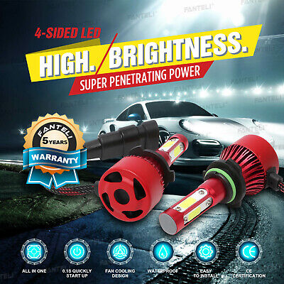 4-Sided Cree LED Headlight Set 9006 HB4 9012 6000K 2205W 330750LM Low Beam Bulbs