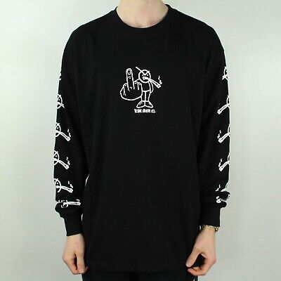 Polar Angry Stoner Long Sleeve T-Shirt – Black in size M,L
