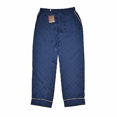 NWT Louis Vuitton Supreme Navy Monogram Box Logo Pajama Track Pants 44 AUTHENTIC