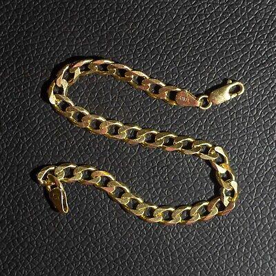 "Italian 9ct Yellow Gold on Silver Flat Curb Narrow Bracelet 8"" Men's / Ladies"