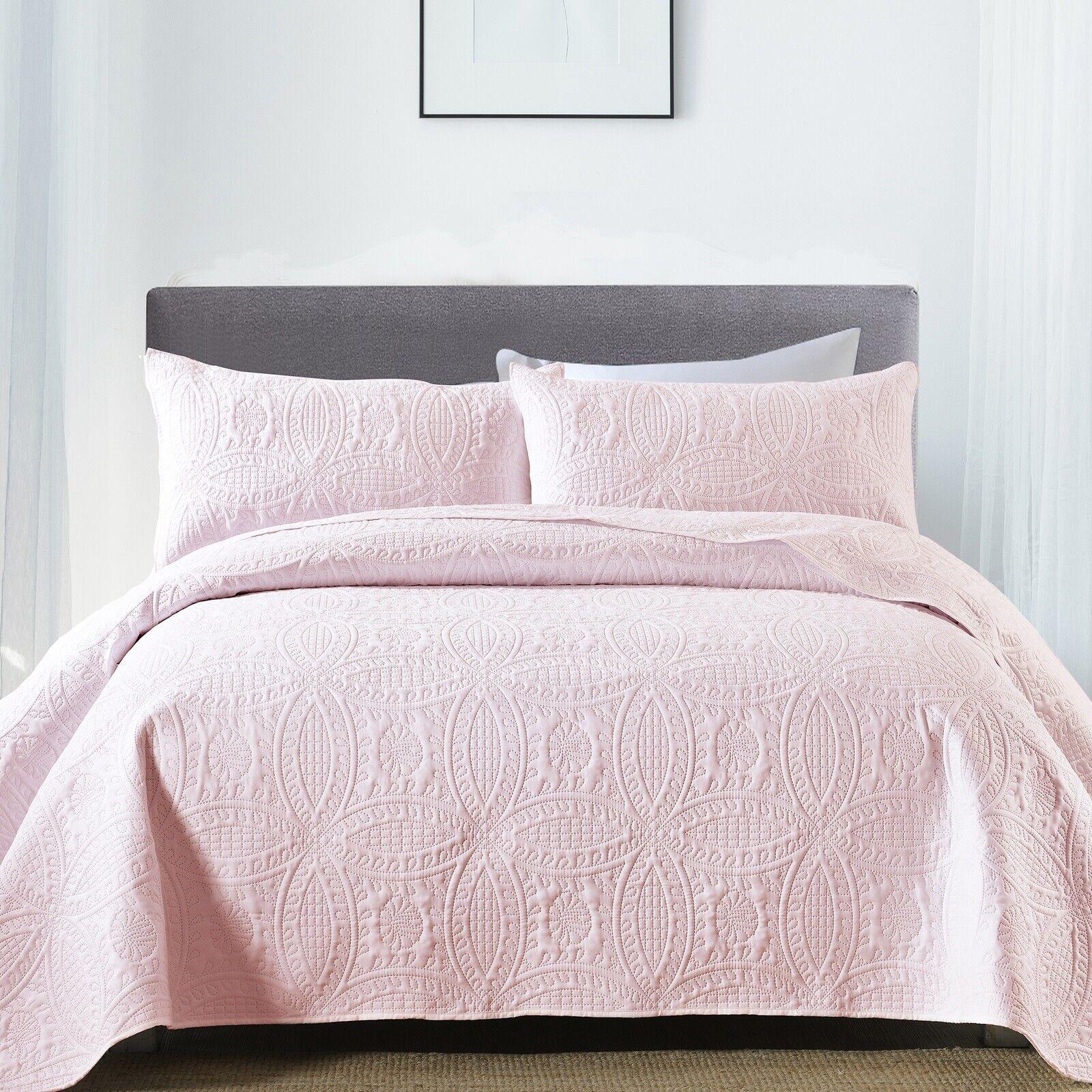3-Piece Queen King Quilt Set Soft Coverlet Bedding Bedspread