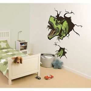 Crashing dino wall decals t rex dinosaur room decor for T rex bedroom decor