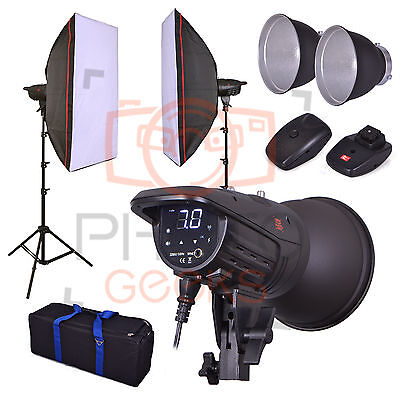 Studio Flash Lighting Kit - 800w 2x 400w Head- Softbox Strobe Photography Bowens