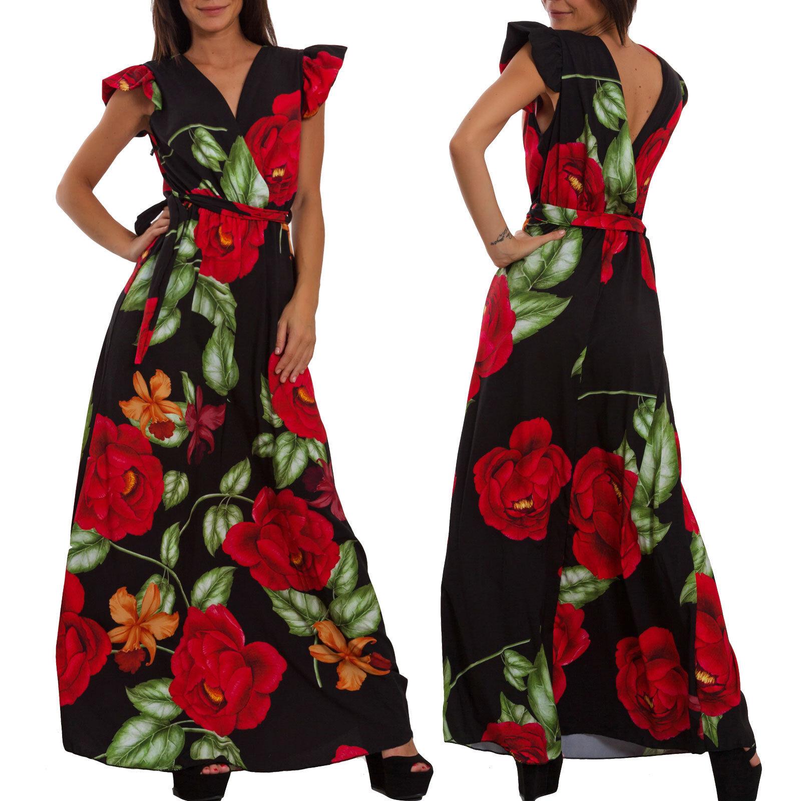 dd59db869532 Vestito donna lungo abito floreale fiori ruches elegante cerimonia sexy