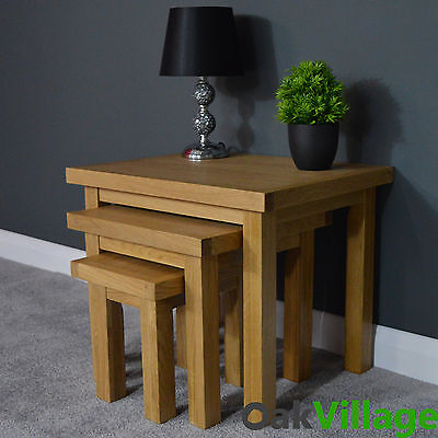 OAKLEY OAK NEST OF TABLES / SIDE TABLE / SOLID WOOD / END TABLE / BRAND NEW