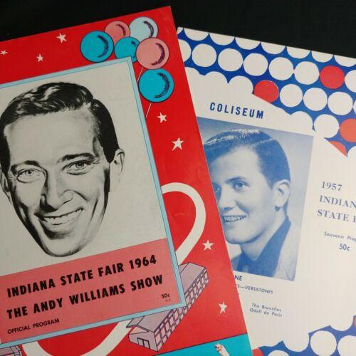 Vtg Indiana State Fair Programs Andy Williams 1964 Pat Boone 1957 Jetstar 88