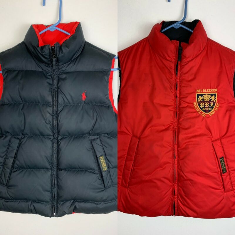 Polo Ralph Lauren Boys REVERSIBLE Down Puffer Vest  RL CO NYC Size M (10/12)