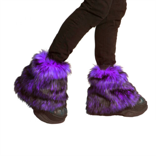 PAWSTAR Ankle Furry  Leg Warmers - Fluffies Purple Black Boot Cover [WFPU]2594