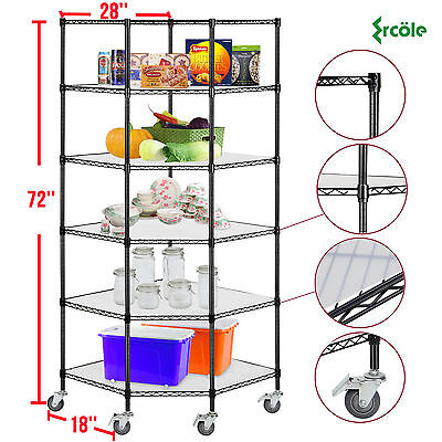 6-tier Heavy Duty Wire Shelving Rack Corner Unit Storage Adjustable Steel Shelf