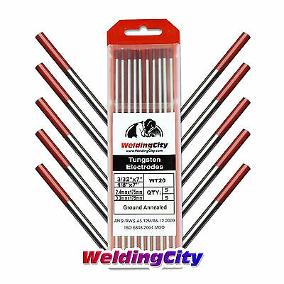 10-pk Tig Welding Tungsten Electrode 2 Thoriated Red 332-18 Us Seller