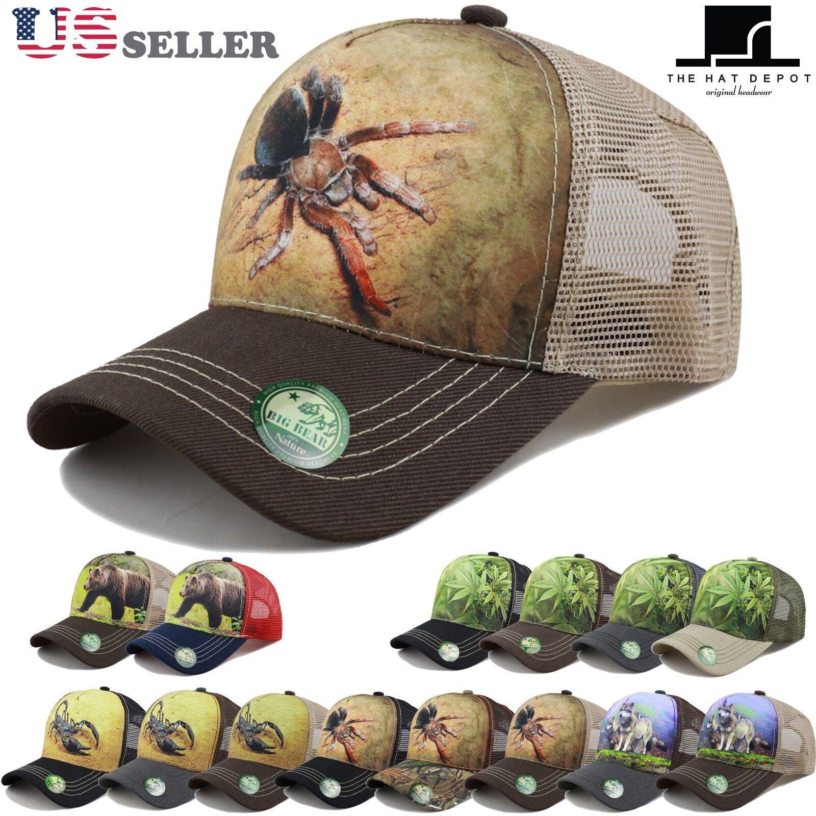 THE HAT DEPOT Printed Mesh Trucker Hat Outdoor Adjustable Ba